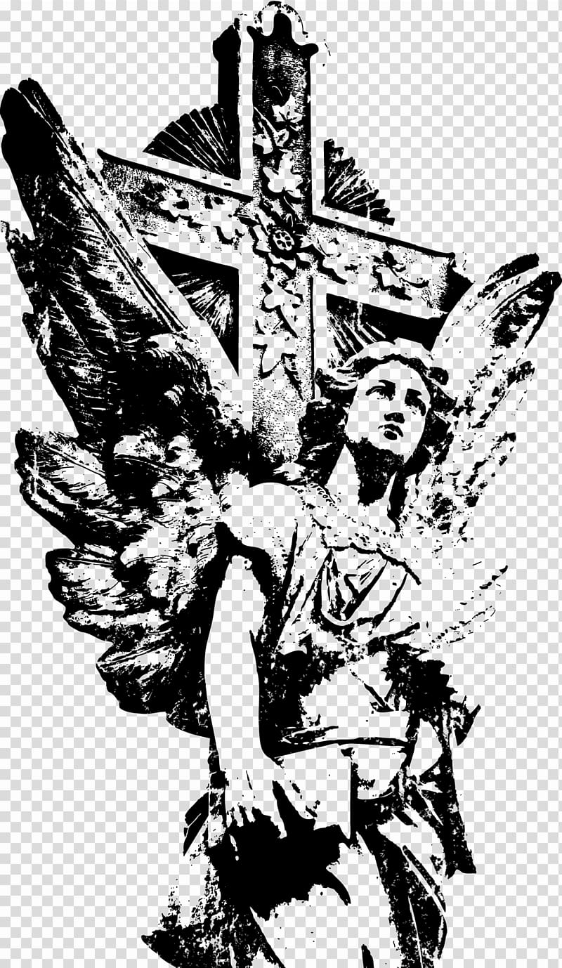 Angel beside cross illustration transparent background PNG.