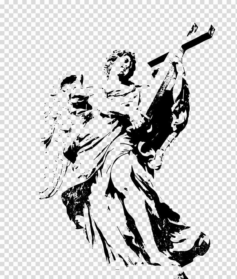 Angel holding cross illustration transparent background PNG.