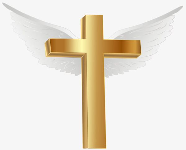 Flying Cross, Cross Clipart, Golden Cross, Wing PNG.
