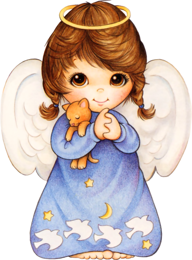 Cute Angel with Kitten PNG Picture.