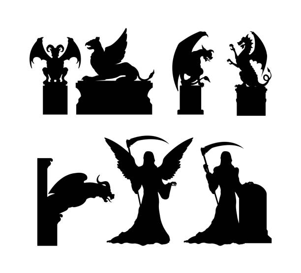 Silhouette Of A Devils Tower Illustrations, Royalty.