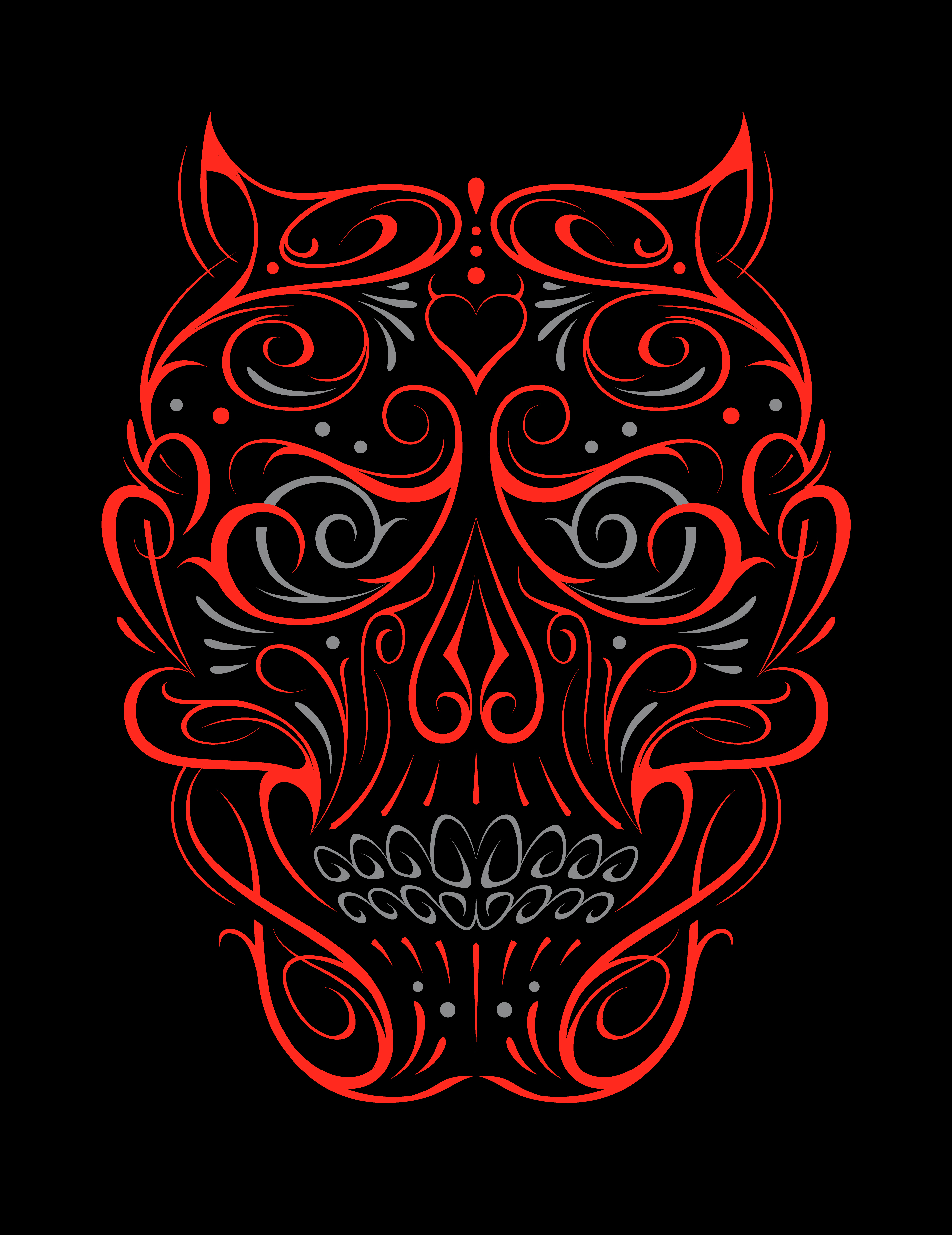 Abstract Skull Shape Red Pattern.