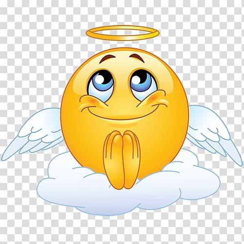 Angel emoji illustration, Emoticon Smiley Emoji , Begging.