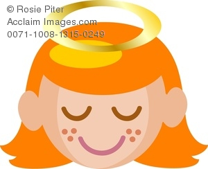 A Smiling Angel With Her Head Bowed and Her Eyes Closed Clipart.