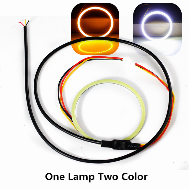 2X Dual Color COB LED Angel Eyes 70mm Angle eyes Car Styling.