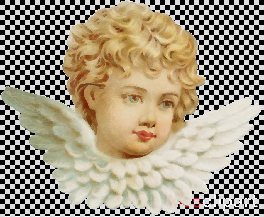 angel face sculpture head figurine clipart.