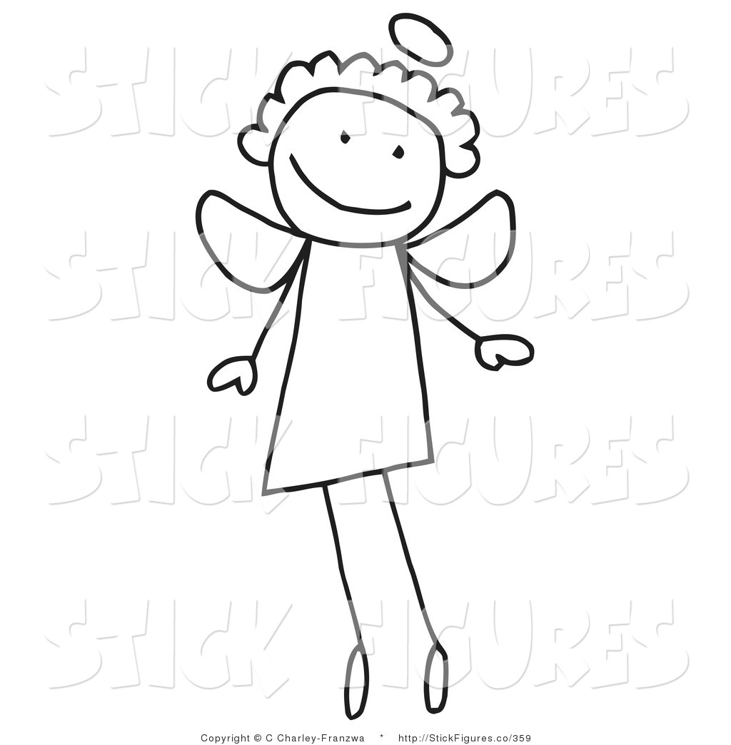 Royalty Free Stock Stick Figure Designs of Angels.