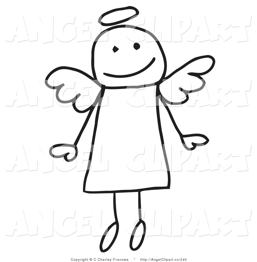 Royalty Free Stock Angel Designs of Stick Figures.