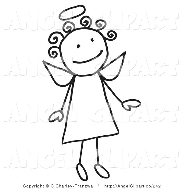 Clip Art of a Cute Flying Female Stick Figure Angel with a Halo.