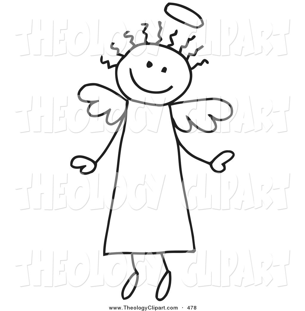 Clip Art of a Happy Flying Stick Figure Outline Angel with Hair.