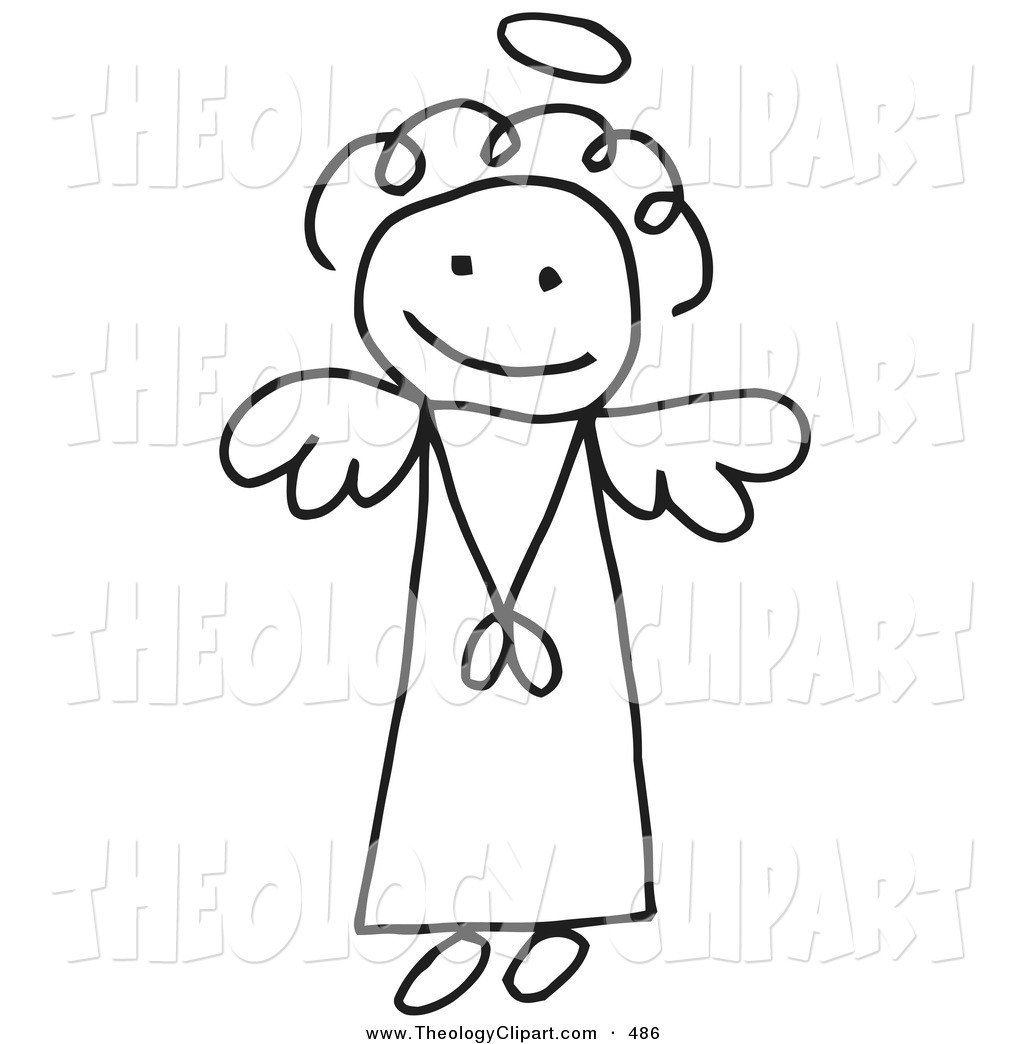 Clip Art of a Innocent Flying Black and White Stick Figure Angel.