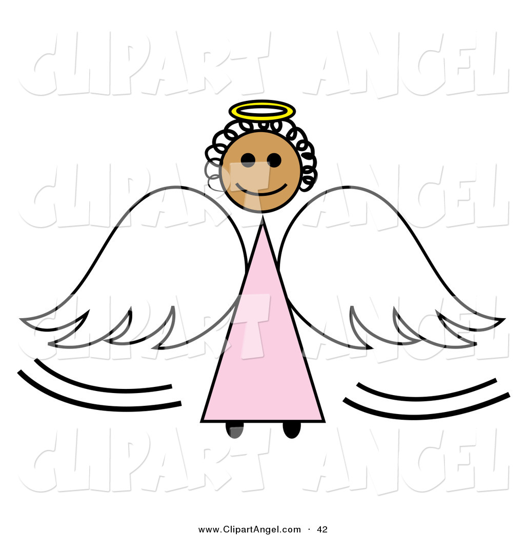 Illustration Vector of a Black Stick Figure Angel Girl with a Halo.