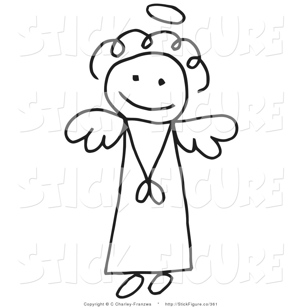 Clip Art of an Innocent Stick Angel Girl by C Charley.