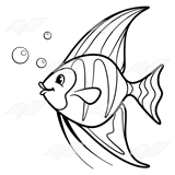 Black Angel Fish Clipart.