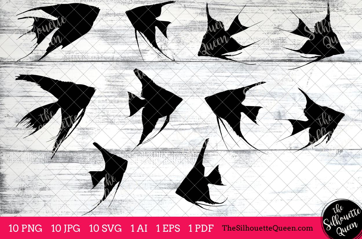 Angel Fish Silhouette Clipart Clip Art(AI, EPS, SVGs, JPGs, PNGs, PDF),  Angel Fish Clip Art Clipart Vectors.