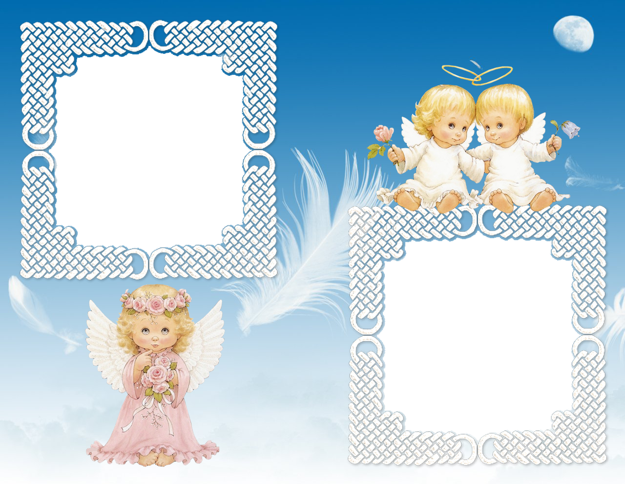 Cute Angels Transparent Photo Frame.