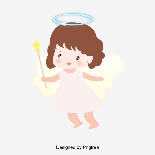 Simple Cute Cartoon Little Angel Girl Element, Cartoon, Simple, Hand.