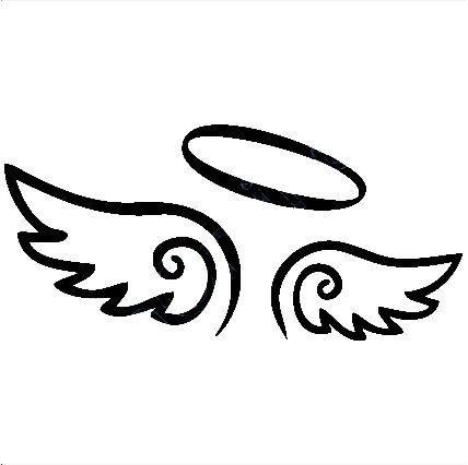 Angel Wings Decal with Halo, angels decals, angels stickers, vinyl.