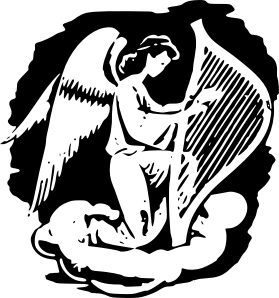 Angel Playing Harp clip art Free vector in Open office drawing svg.