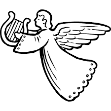 Image result for simple clipart angel holding harp.