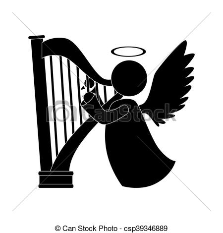 angel harp play musical instrument icon vector.