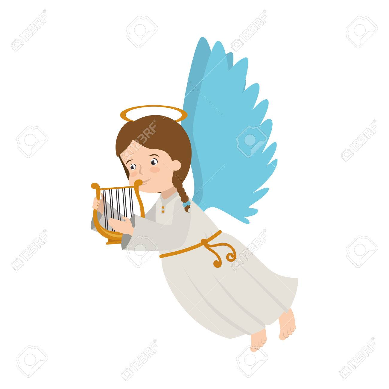 angel harp lyre play heaven musical instrument halo wing vector...