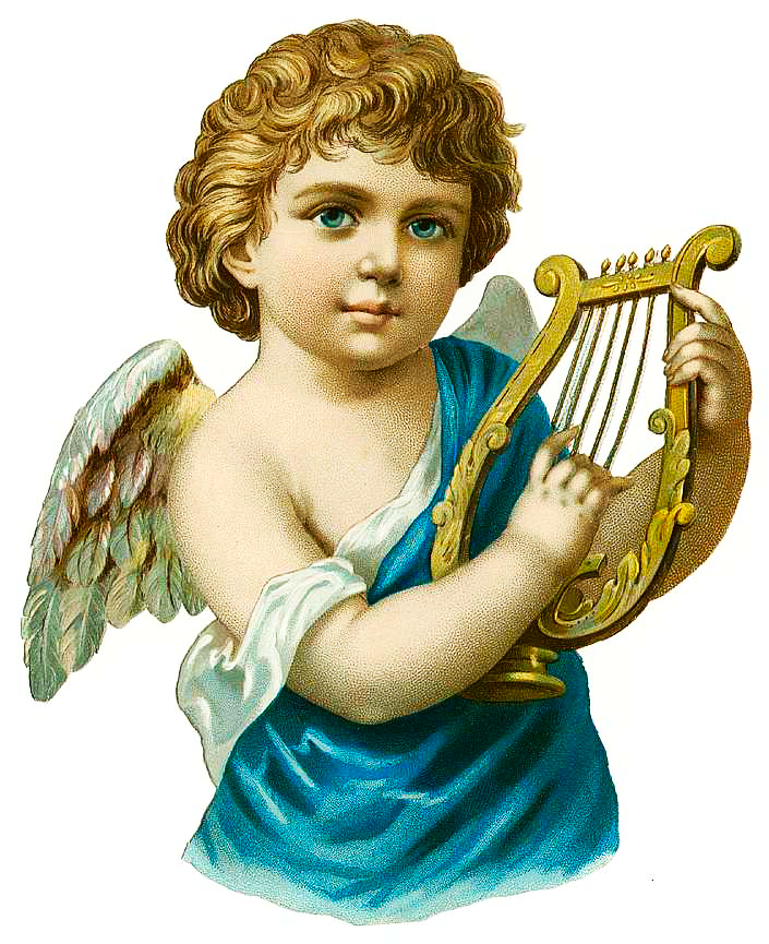 Free Vintage Angel With Harp Clipart.