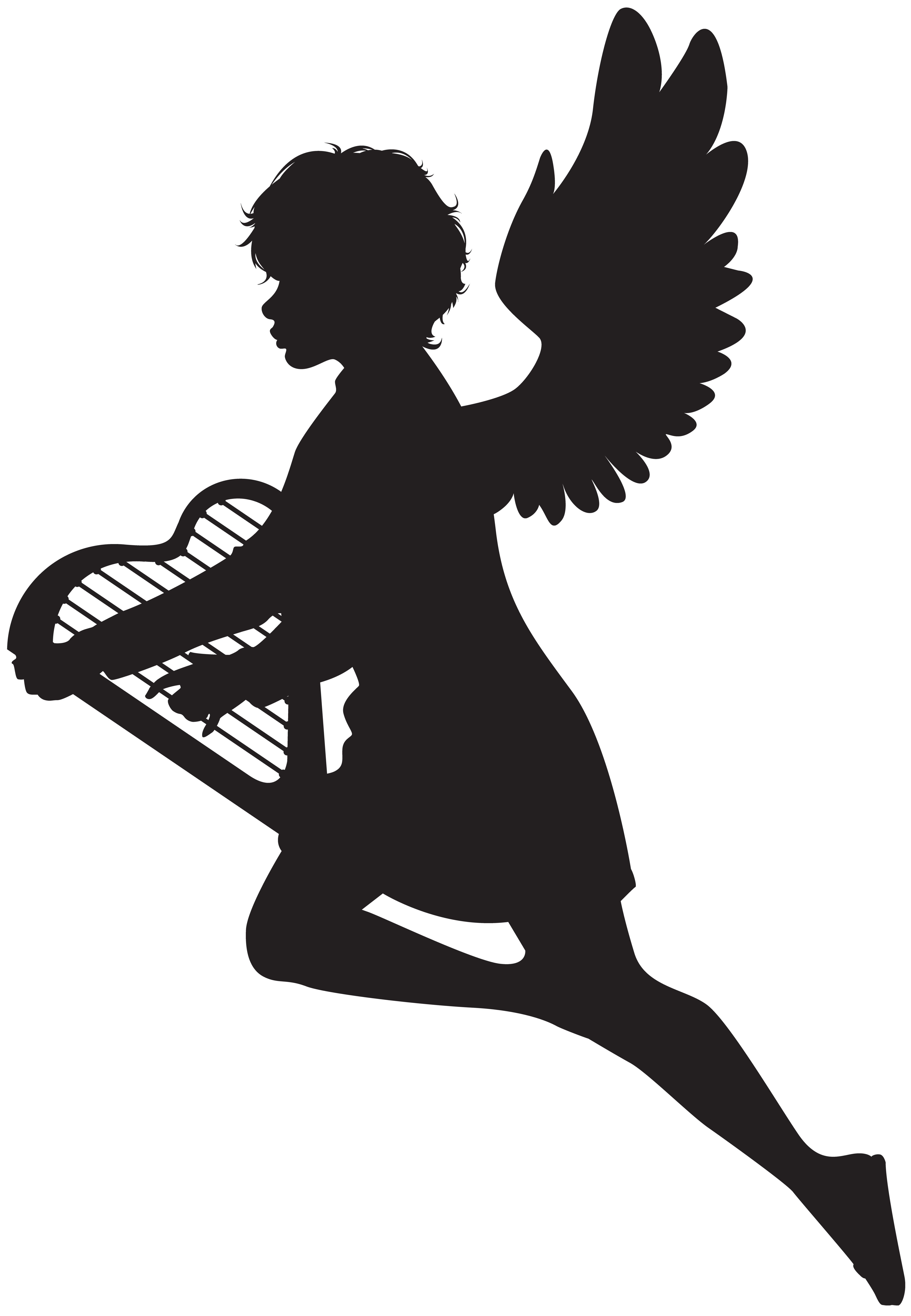 Angel with Harp Silhouette PNG Clip Art Image.