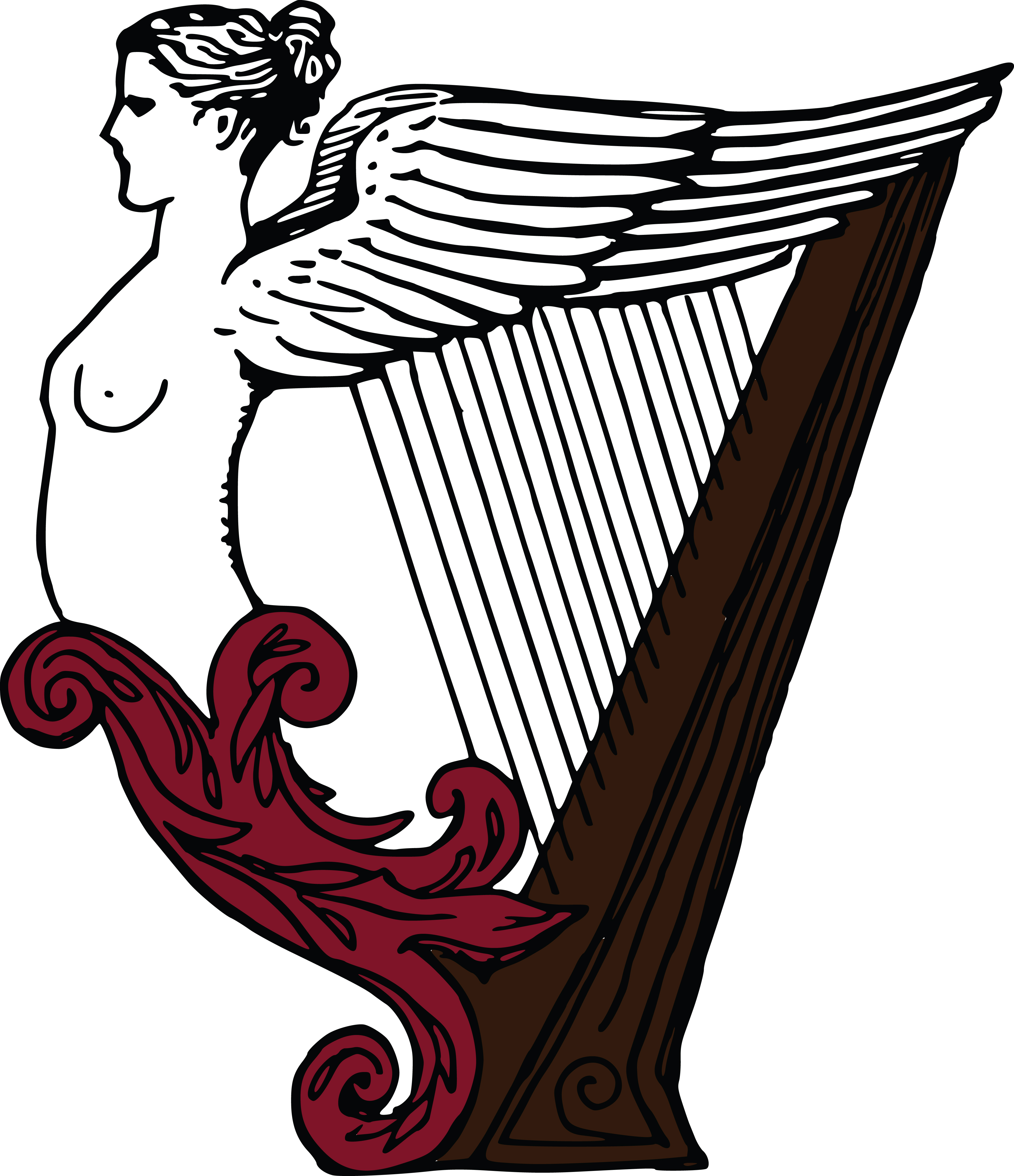 Free Clipart Of A female angel harp.