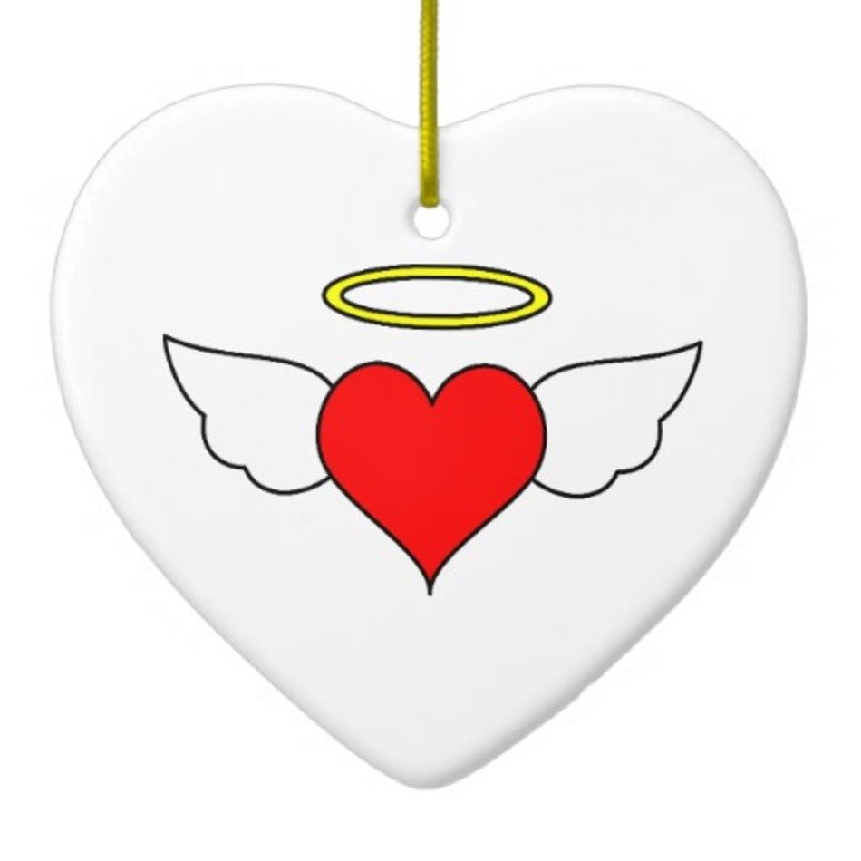 Red Angel Heart Wings & Halo Christmas Tree Ornaments Zazzle.