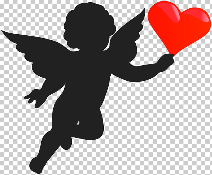Cherub Cupid Angel Silhouette, Cupid with Heart Silhouette.