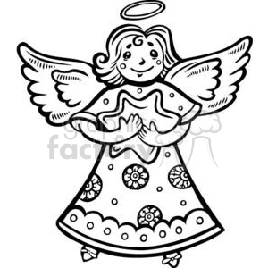 Christmas angel holding a star clipart. Royalty.