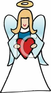 Angel Holding A Red Heart.