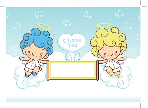 Angel Character couple is holding a big board. Clipart Image.