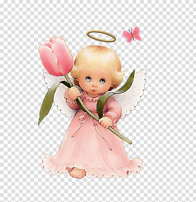 Angel , Cute Angel with Tulip Free , angel holding pink.