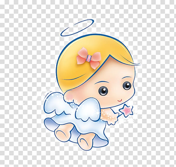 Angel holding star wand , Angel Illustration, Angel Baby.