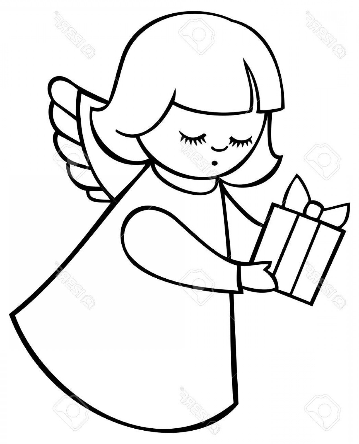 Photostock Vector Contour Image Of Angel Flying With A Gift.