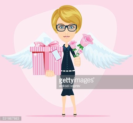 Female Angel Holding A Bouquet of Flowers and Gifts With.