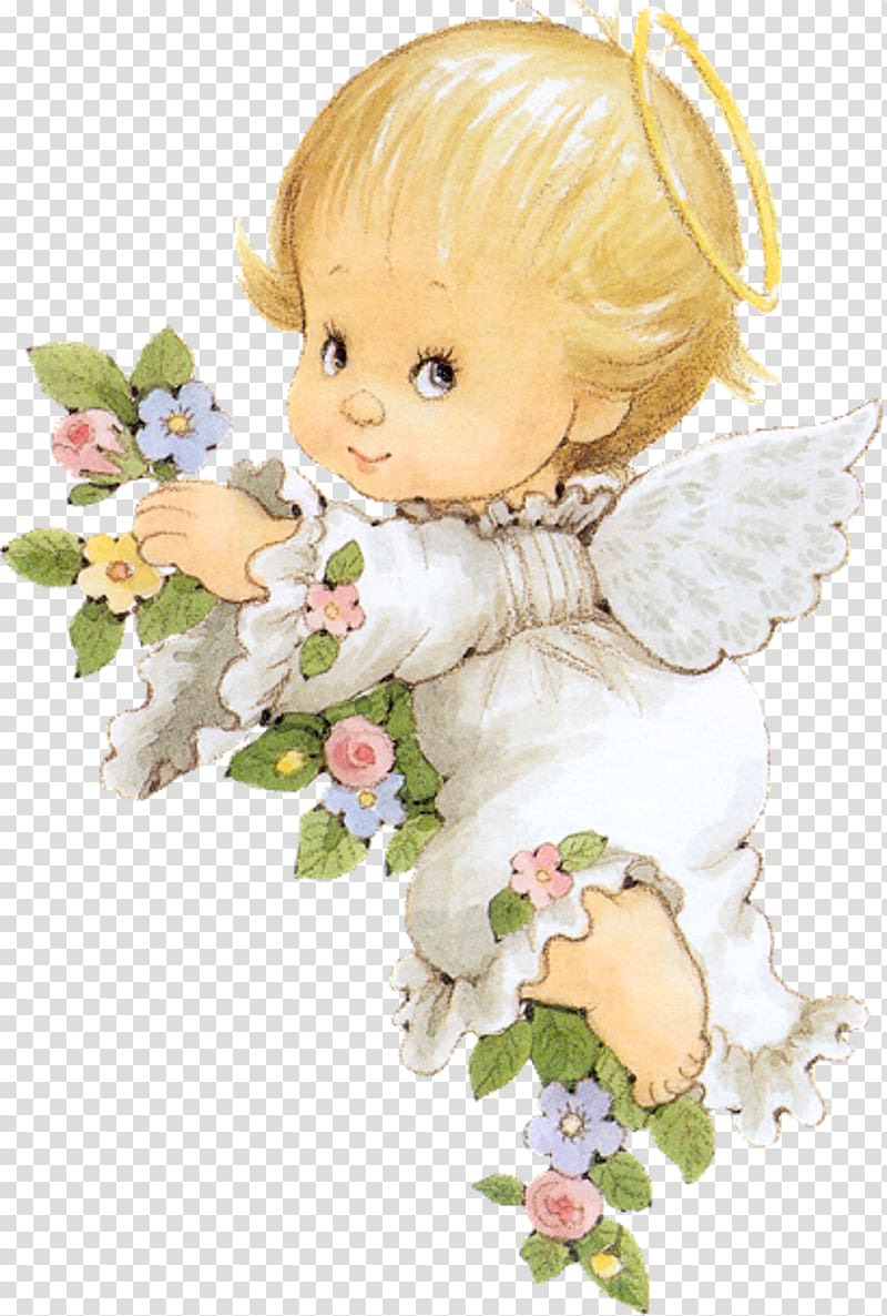 Girl angel holding blue, pink, and yellow flowers.