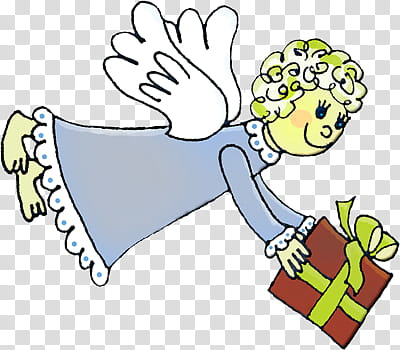 Playdays, angel holding gift box transparent background PNG.