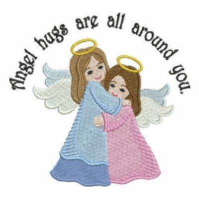 Angels Hugging Embroidery Design.