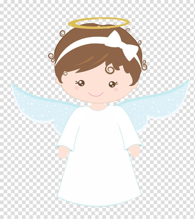 Girl angel with white headband illustration, Baptism.