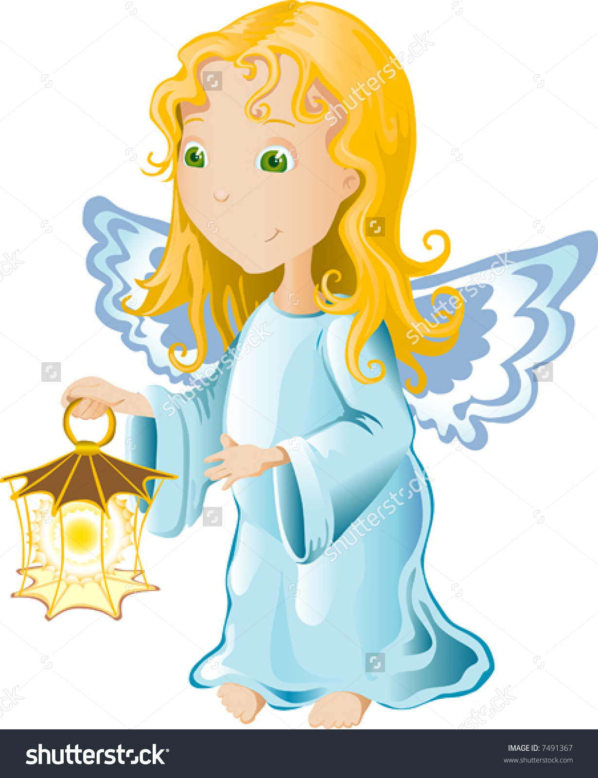Vector Illustration Of Blonde Baby Angel In Blue Dress With.
