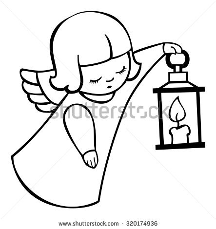 Contour Image Angel Flying Lantern Stock Vector 320174936