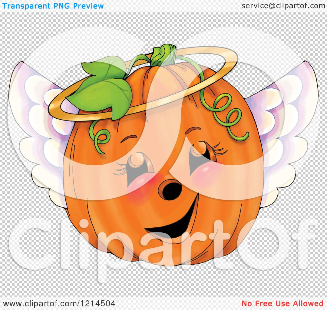 Clipart of a Cute Angel Halloween Pumpkin Jackolantern.