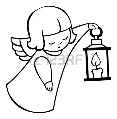 Contour Image Of Angel Flying With Lantern