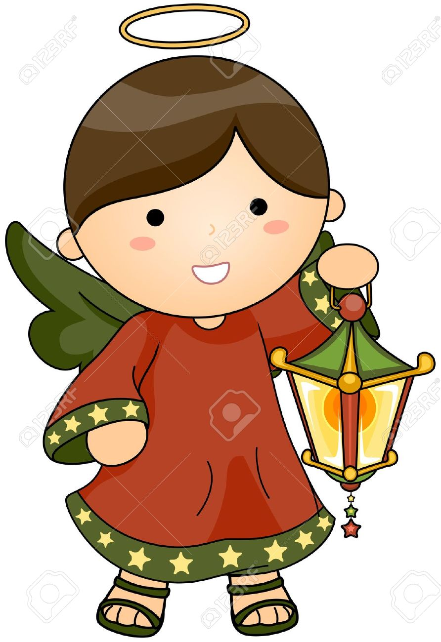 Christmas Angel Holding Lantern Stock Photo, Picture And Royalty.