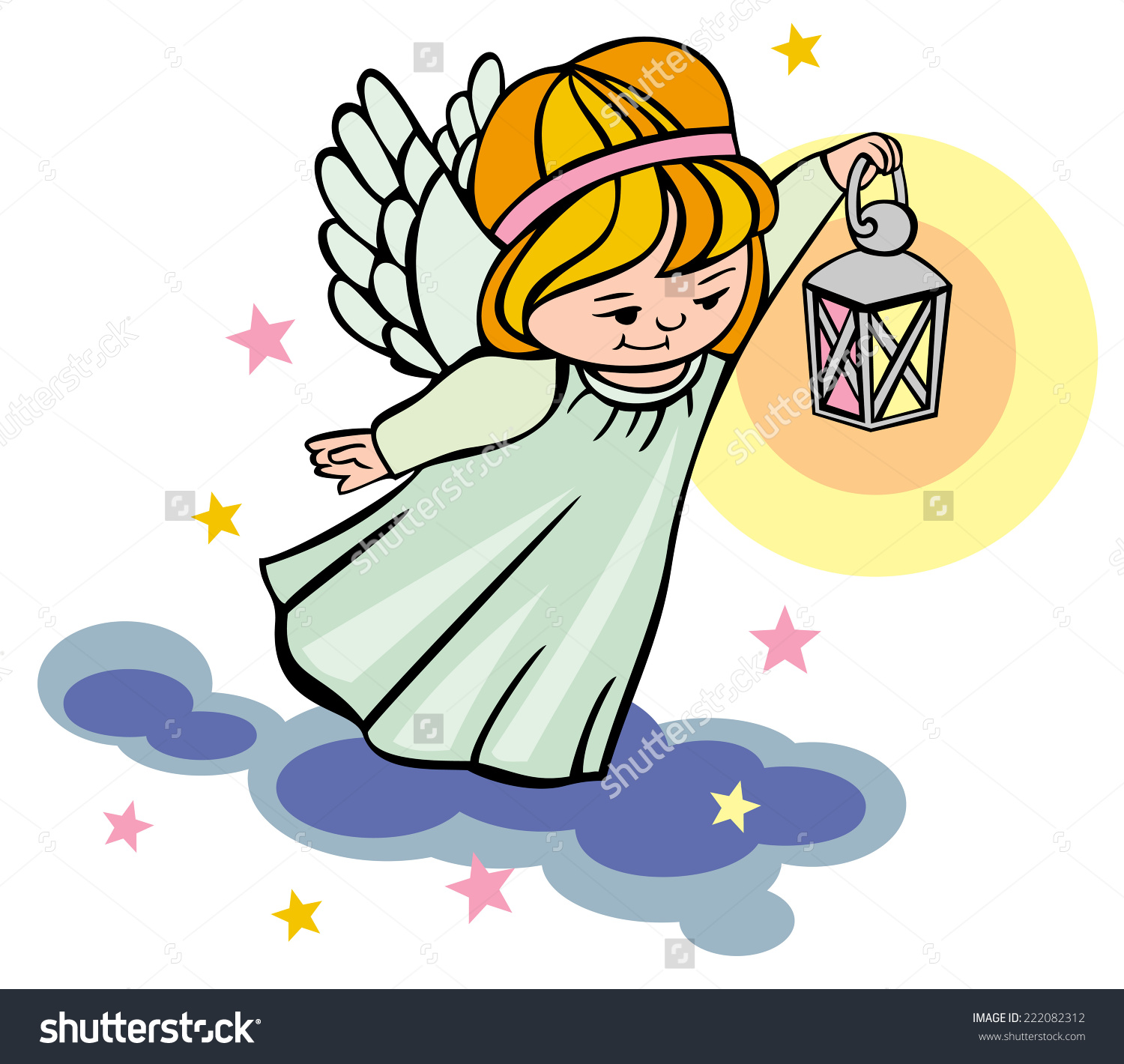 Flying Angel Lantern Stock Vector 222082312.