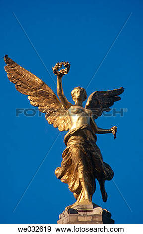 Stock Photograph of Angel statue, Independence Monument in Avenida.