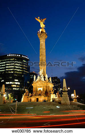 Stock Image of Angel statue, Independence Monument at Avenida de.